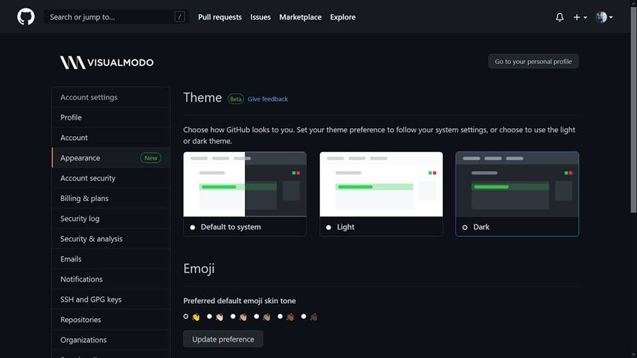 Github Dark Mode Enable Tutorial