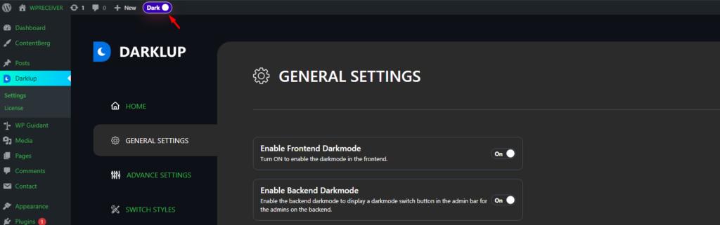 switch mode on dashboard tool bar